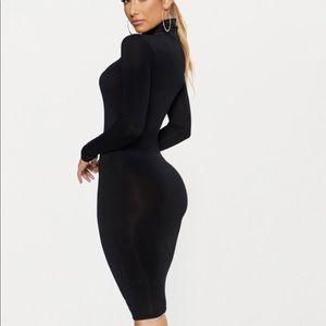 9c6380e58f PrettyLittleThing Dresses - Basic Black Roll Neck Midi Dress